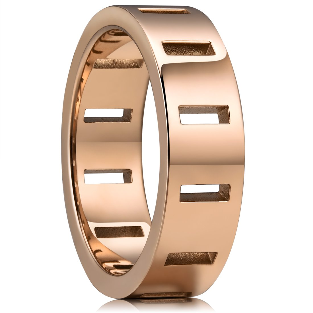 King Will 6mm 316 Stainless Steel Wedding Band Ring Rose Gold with 12 Rectangle Hollow&Full High Polished(9)