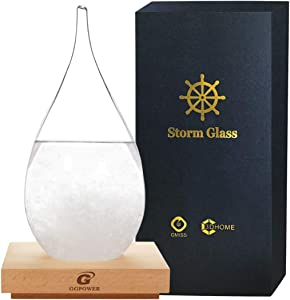 GGPOWER Storm Glass - Weather Forecaster Weather Station with Pure Wood Base Creative Crystal Glass Bottle Desktop Drops Craft Weather Station (XXL)