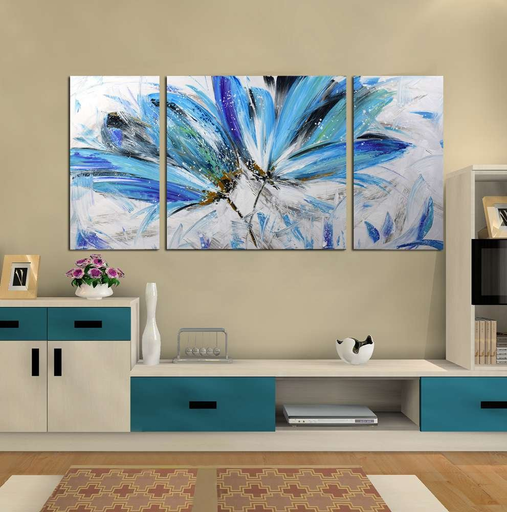 ARTLAND Hand-painted 24x48-inch 'Endless Love' Gallery-wrapped Canvas Flower Wall Art
