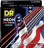 DR Strings NUSAE-10 Coated Nickel Electric Guitar Strings, Medium, 10-46, Neon Red/White/Blue