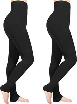 Emooqi Leggings Largas de Invierno para Mujer, Pack de 2 Leggings Cintura Alta, Leggings Térmicos Calientes con Forro Polar, Leggings Pantalones Mallas Elásticos