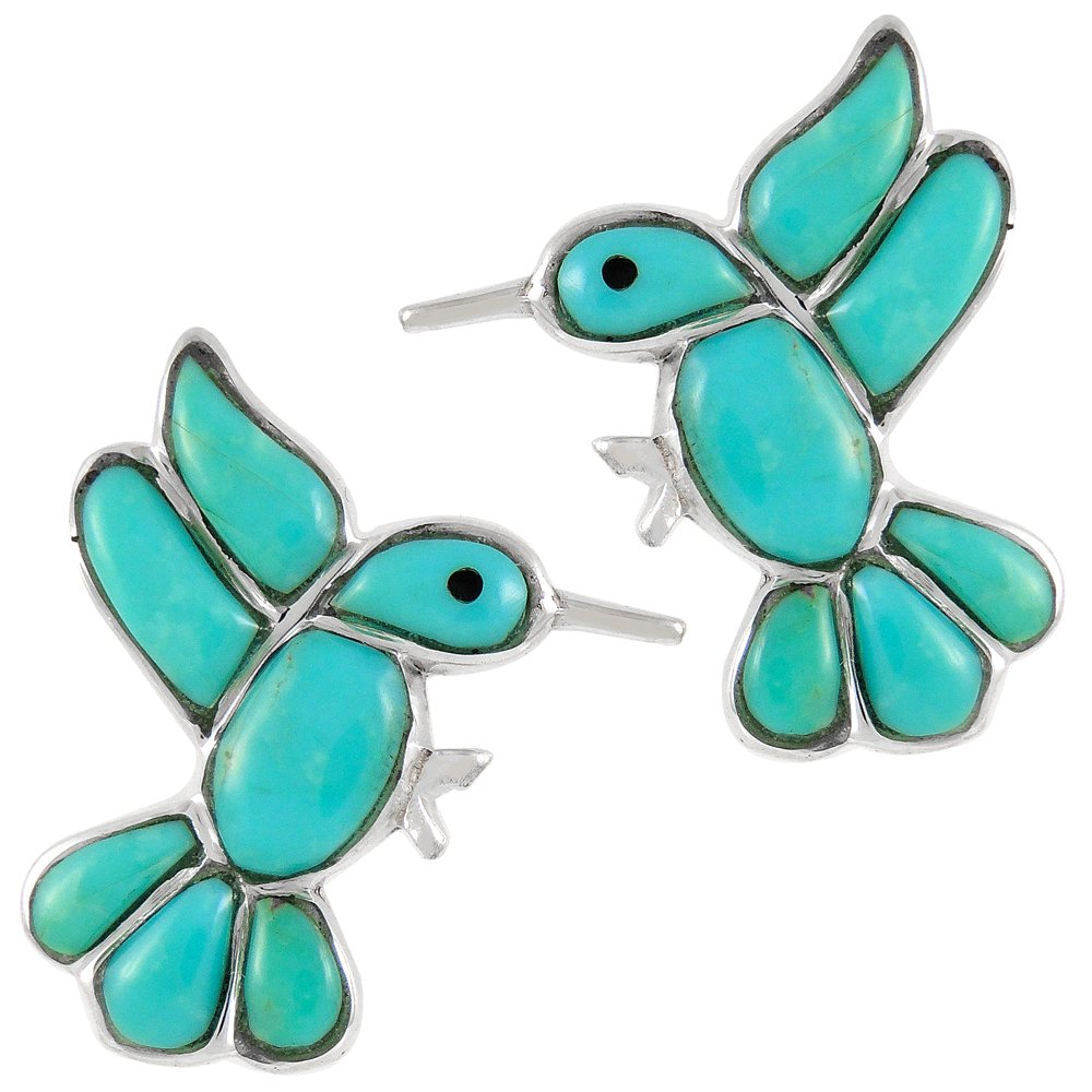 925 Sterling Silver Hummingbirds Earrings Genuine Turquoise (Turquoise)