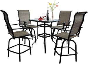 5 Pieces Outdoor Furniture Patio bar Set, Bistro Set Height Swivel Patio Chairs,360 Degree Terrace Balcony Swivel Bar and Table,All-Weather Padded Sling Fabric Stools for Bars,Patio.
