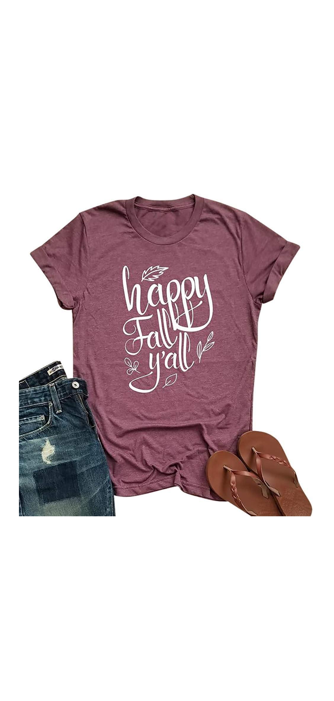 Happy Fall Y'all Shirt Women Cute Leaves Print Graphic Tees Fall