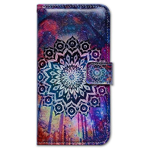 Bfun Packing Bcov Colorful Mandala Sky Card Slot Wallet Leather Cover Case For iPhone 6 6S