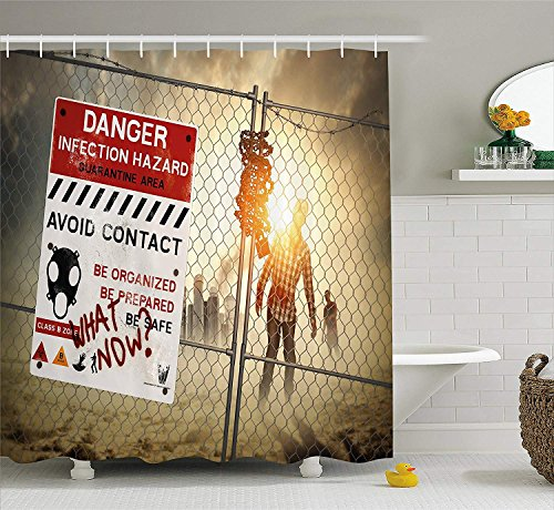 LLuotryce Bath Curtain, Bathroom Decor Set with Hooks, Zombie Decor Shower Curtain, Dead Man Walking Dark Danger Scary Scene Fiction Halloween Infection Picture, Fabric Bathroom Decor Color]()