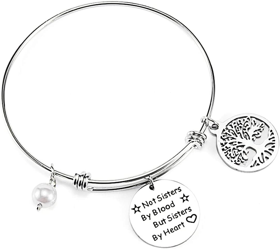 Friend Jewelry for Friends Not Sisters by Blood But Sisters by Heart Bracelet Charm Bracelet Adjustable Stainless Steel Bangle Sliver Best Friends Tree Bracelet