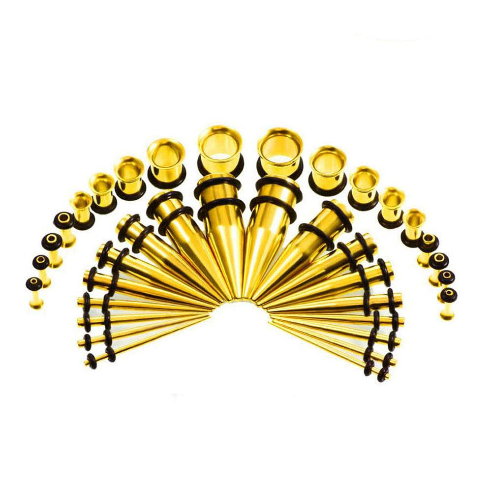 Ear Gauge Stretching Kit,36PC Gauges Kit Acrylic Plugs Stainless Steel Tapers 14G-00G Ear Stretching Piercing Set,Yellow by WANGYONGQI (Image #1)
