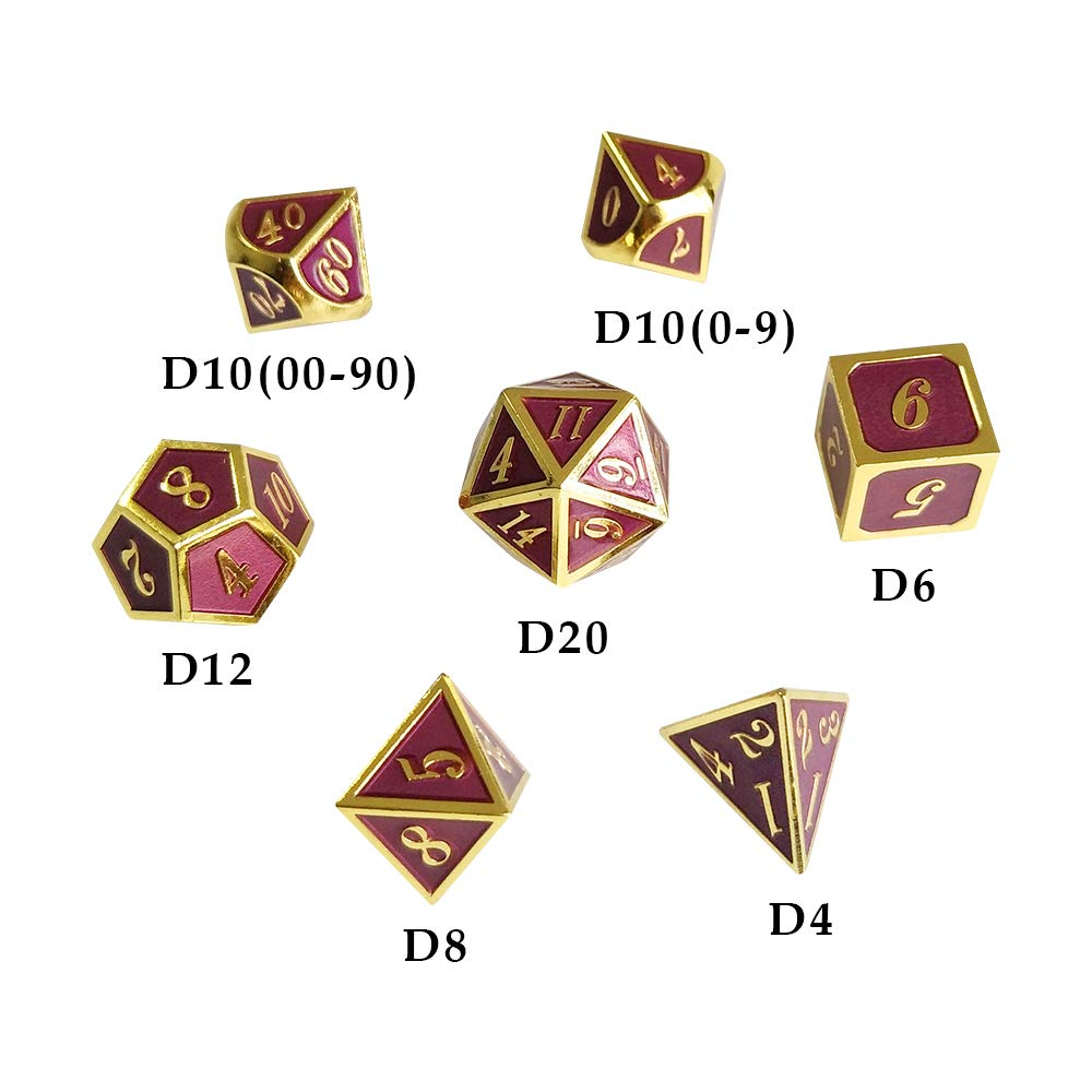 YH Poker 7PCS Metal Dice Set D/&D Dice D20 D12 D10 D8 D6 D4 for Dungeons and Dragons DND RPG MTG Table Games-12 Colors are Available