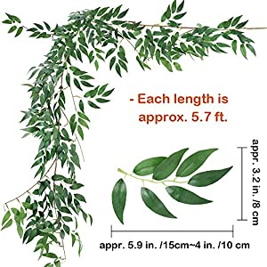 Supla 2 Pack 11.4' Silk Hanging Willow Jungle Leaves Greenery Vines Garland Fake Willow Twigs String in Green for Indoor Outdoor Wedding Decor Jungle Party Crowns Wreath 2
