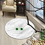 Trippy Round Area Rug High-Tech Hardware Circuit Board Backdrop with Eye Forms Digital PictureOriental Floor and Carpets Pearl Black Jade Green