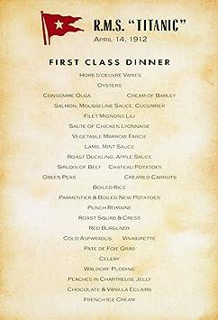 Amazon.com: Titanic Menu 1912 Ndinner Menu For First-Class ...