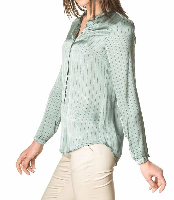 Laura Moretti - Camisa o Blusa Verde de Viscosa de Manga Larga con Cuello Mao y Raya diplomática: Amazon.es: Ropa y accesorios