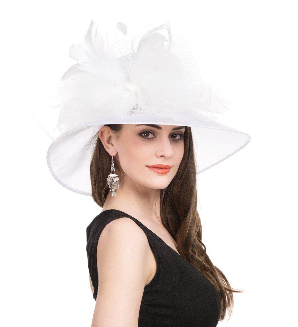 Saferin Women 's Wide Brim Tea Party Organza Church Kentucky Dress Tea Party Derby Hat White Feather Mesh Flower Free size by SAFERIN