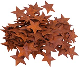 Artibetter 150pcs Rusty Metal Stars, Mini Barn Stars Home Decorative Accents with Hole and Hollow Backs for New Year Decorating and Finishing 4.5cm