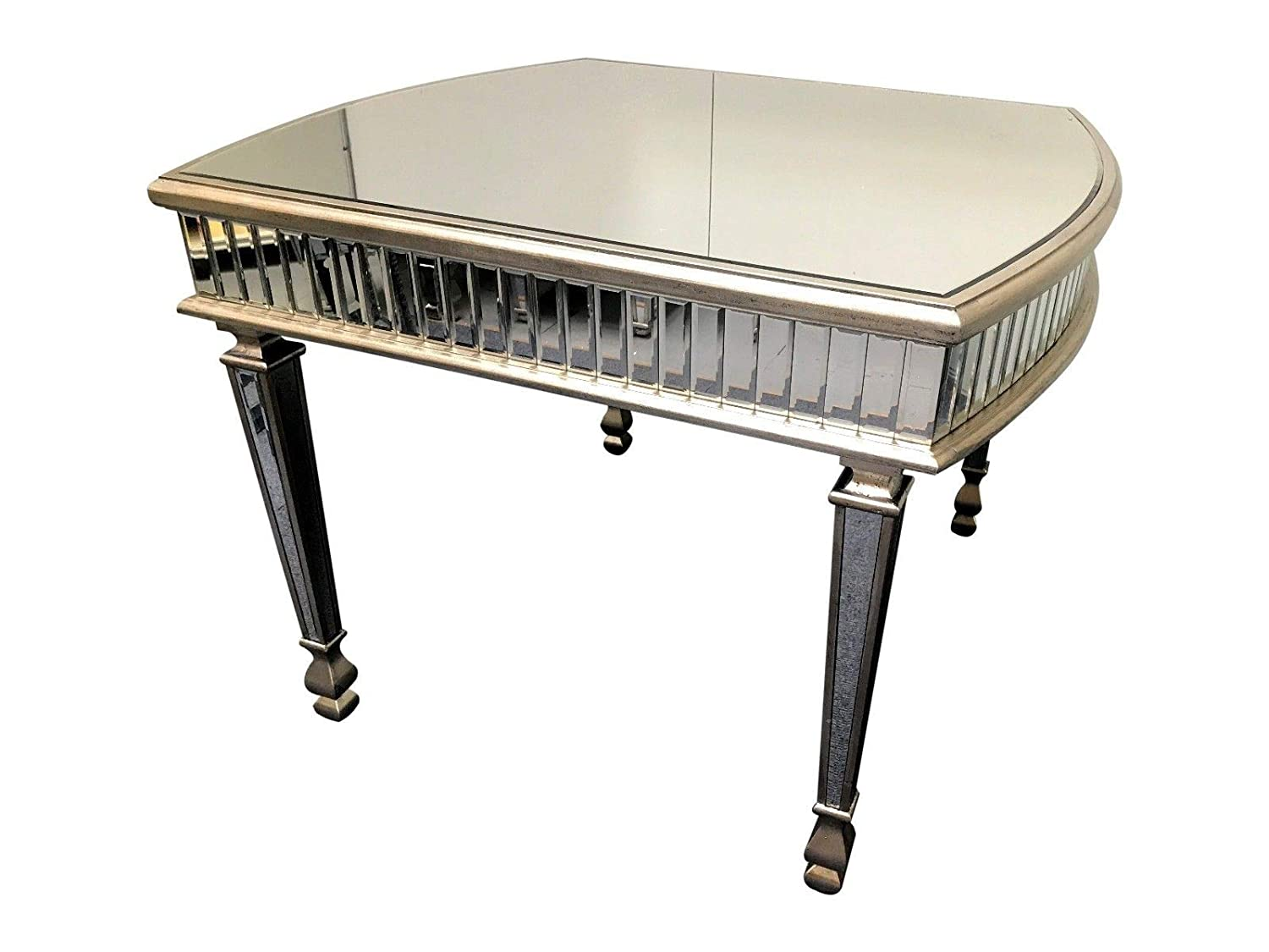 Interiors In Vogue Oval Mirrored Coffee Table Venetian Glass Living Room Furniture With Silver Edging
