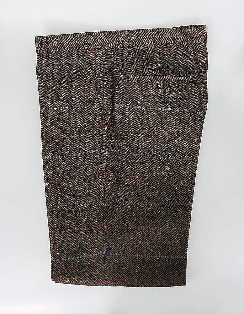 Mens 3 Piece Green Brown Herringbone Tweed Check Suit Vintage Peaky Blinders Style UK