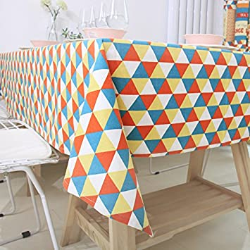 Ustide Rustic Tablecloth Coforful Geometric Triangle Designer Tablecloths  Cotton And Linen Printed Square Table Cover Overlays