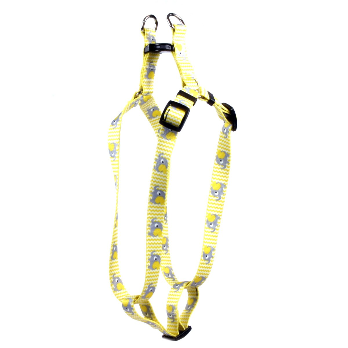 Yellow Dog Design Yellow Elephants Step-in Dog Harness-Large-1'' Wide and fits Chest Circumference of 25 to 40''