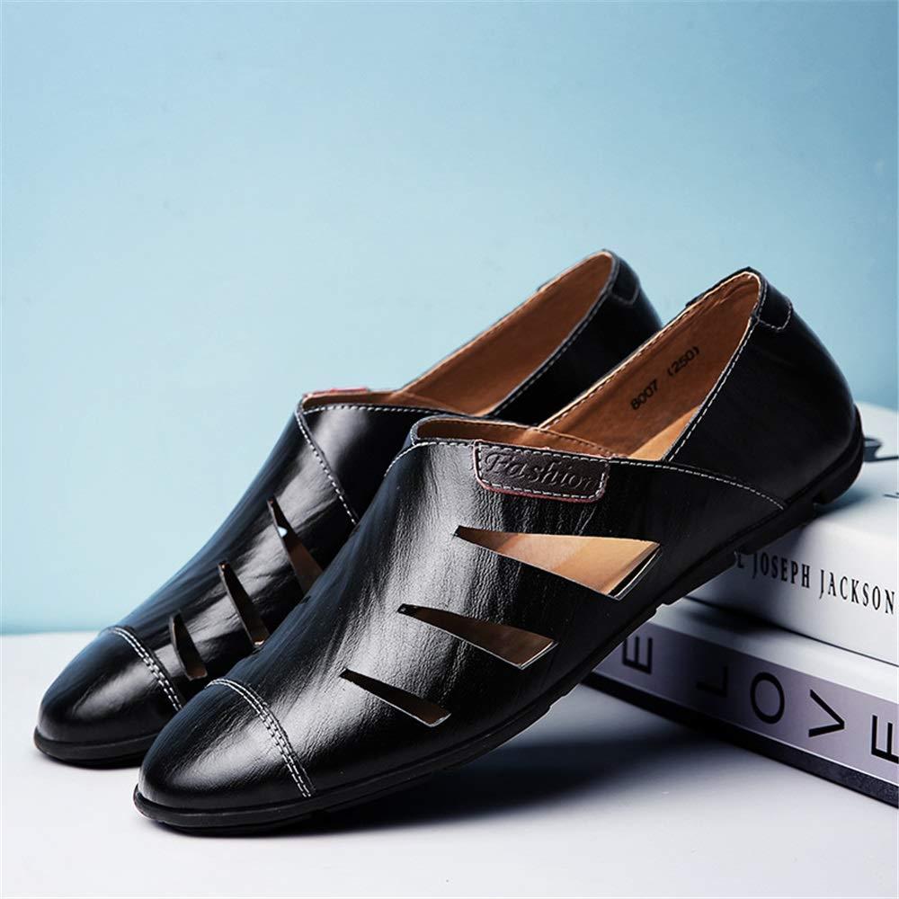 Fuxitoggo   Herren Hand Made Schuhe aushöhlen Loafers weiche Sohle atmungsaktiv LederSandale Loafers aushöhlen (Farbe : Schwarz, Größe : EU 44) Schwarz 31f2b3