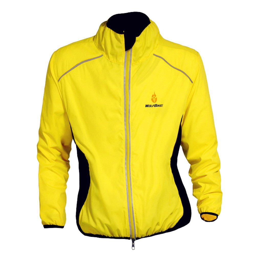 WOLFBIKE Cycling Jacket Jersey Long Sleeve Wind Coat, Color: Yellow, Size: M BC212-Y-00M