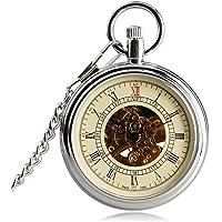 Classic Pocket Watch, Open Face Self Silver Pocket Watch for Men Women, Automatic Mechanical Men Women Pocket Watch Gift
