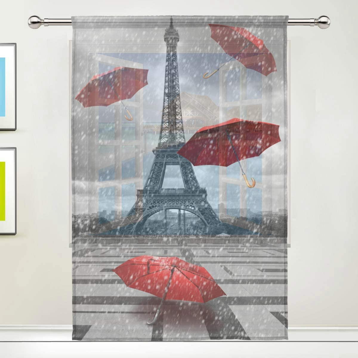 MAHU Sheer Curtains Paris Eiffel Tower Umbrella Window Voile Curtain Drapes for Living Room Bedroom Kitchen Home Decor 55x84 inches, 1 Panel