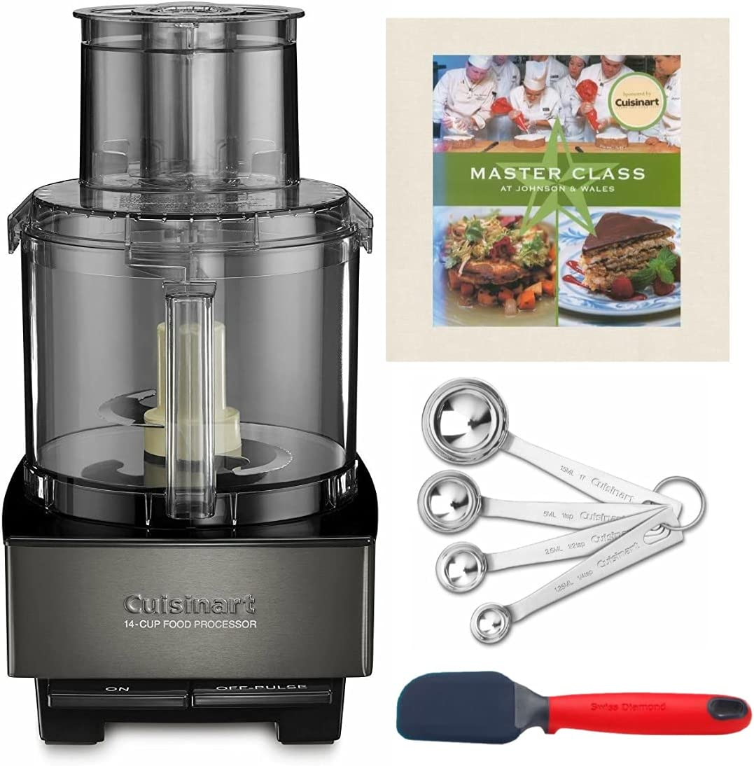 Cuisinart Custom 14-Cup Food Processor (Black Stainless) with Cookbook, Spoons, and Spatula Bundle (4 Items)