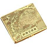 Riverside Durable Copper Cigarette Case Exquisite Cig Holder Box(Golden) offers