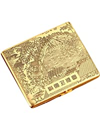 Riverside Durable Copper Cigarette Case Exquisite Cig Holder Box(Golden)