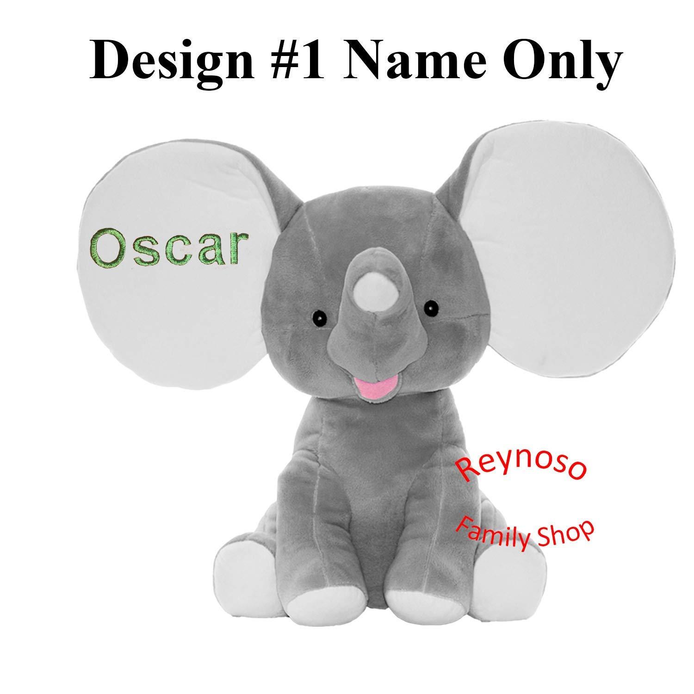 Monogrammed Elephant Grey Dumble Elephant Cubbie Custom Embroidered Stuffed Elephant Cubbie