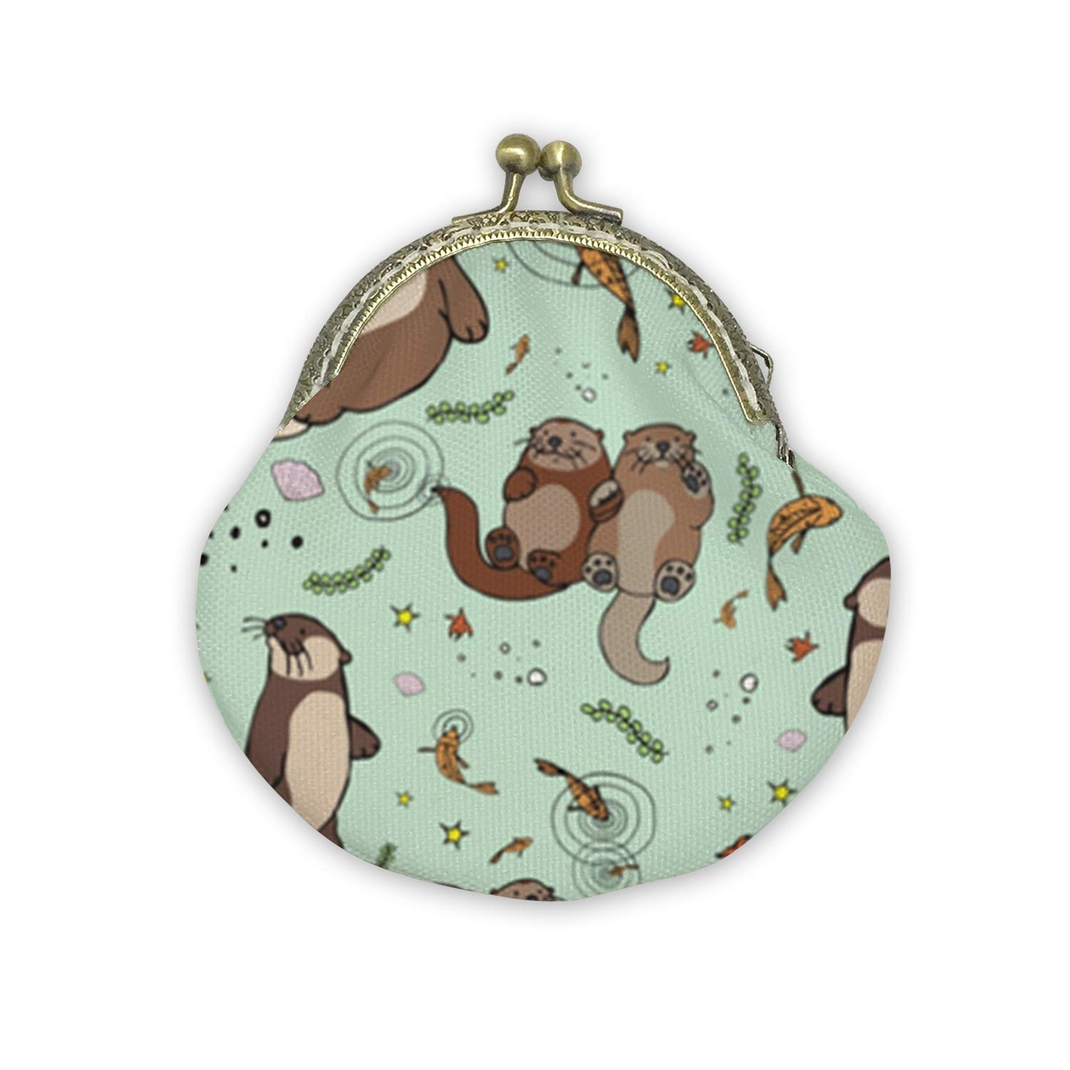 Sea Otters Art Mouth Gold Bag Canvas Coin Purse Cash Bag Small Purse Wallets Mini Money Bag Change Pouch Key Holder Double Sides Printing
