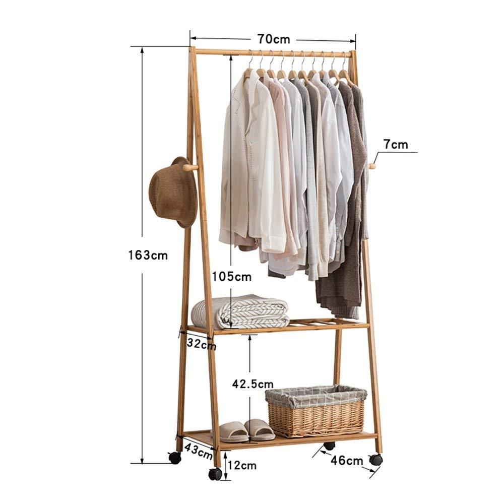 A 16370cm DYR Coat Racks Coat Hangers in Artistic Bamboo 3 Shelves Storage Racks 4 Hooks Mobile Room Stable and Resistant Coat Hanger (color  163  90cm, Dimensions  A)