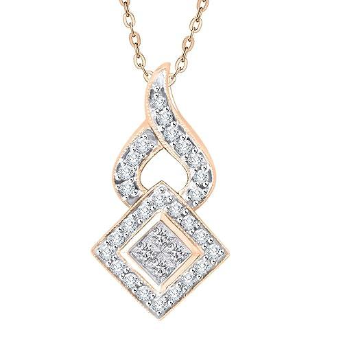 cd3a1dcc6d50 Collar con colgante de diamante redondo y corte princesa en oro y plata (1