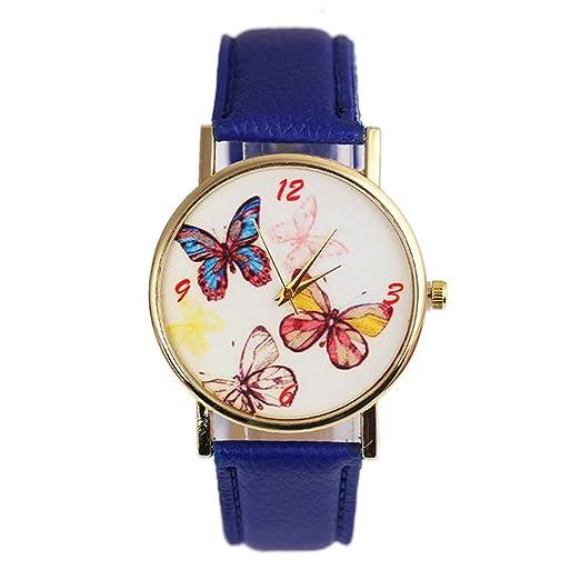 Dxlta Moda Mujer Esfera de Mariposa Reloj de Cuarzo Casual Reloj de Pulsera Regalos (Azul