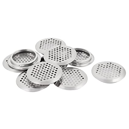 Uxcell Round Panel Shoes Cabinet Air Vent Louver Cover 53mm Bottom Dia 10pcs