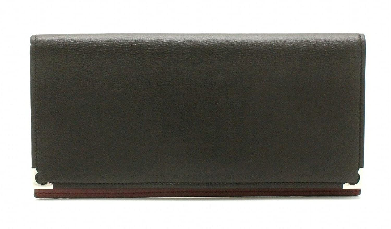 [カルティエ] Cartier カボションライン カボション ドゥ カルティエ 長財布 長札入れ レザー カーフ 黒 ブラック ボルドー シルバー金具 L3000583 B07F7MDFGM  -