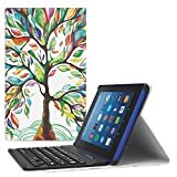 MoKo Keyboard Case for All-New Amazon Fire HD 8 Tablet - Wireless Keyboard Cover with Auto Wake/Sleep for Fire HD 8 (7th Gen–2017 Release)/Fire HD 8 (6th Gen-2016 Release), Lucky Tree