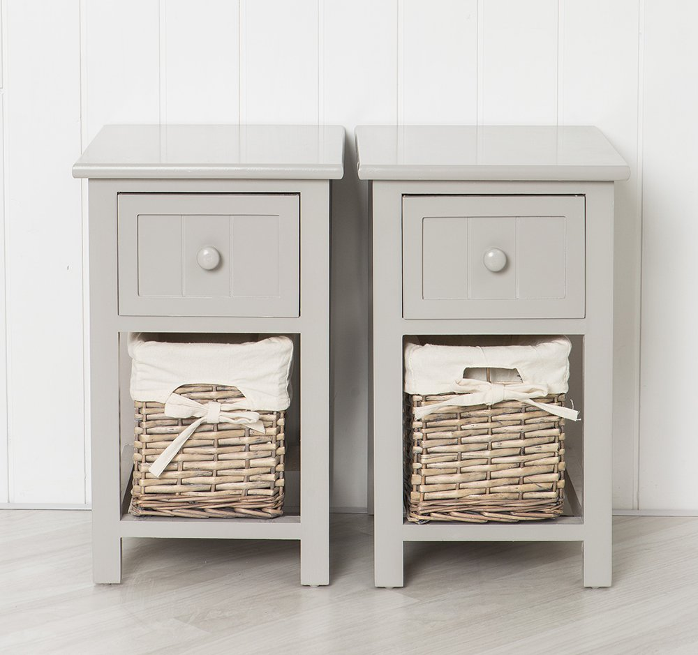 pair of grey shabby chic bedside units with wicker amazon co uk