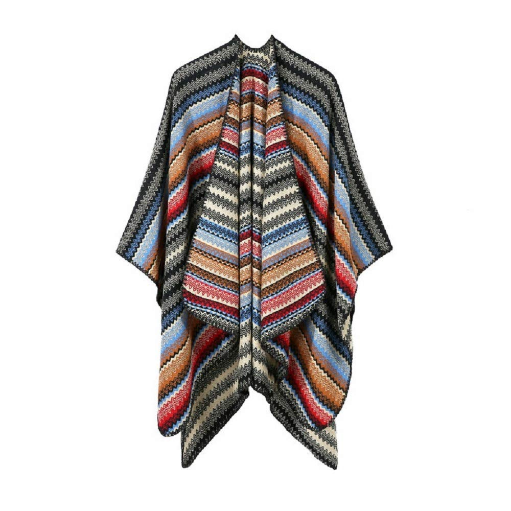 Excellent Women's Fall Winter Scarf Cloak Tassel Cape Mantle Scarf Strong Diffused Kerchief Wrap Shawl Scarves (Color : Black, Size : 51.1 x 59.06 Inch') by Excellent