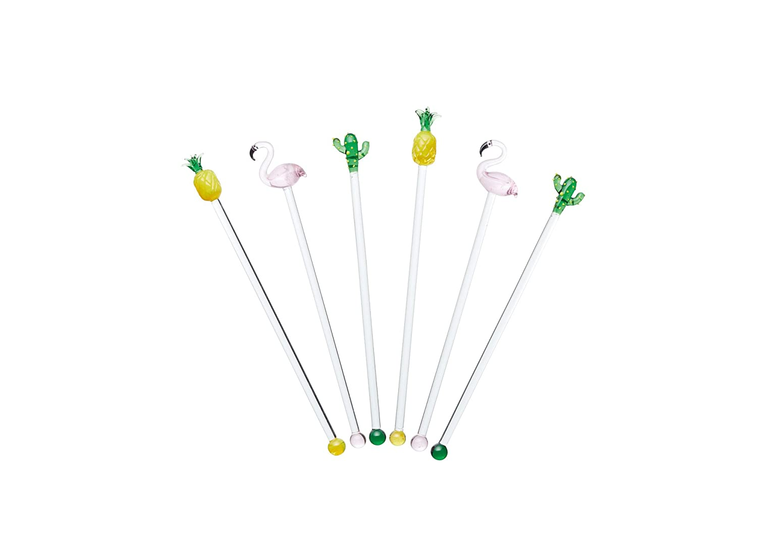 BarCraft Tropical Chic Novelty Glass Cocktail Stirrers Set of 6