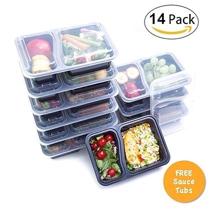 14 unidades: recipientes de 2 compartimentos para servir comida:Apto para utilizar en microondas