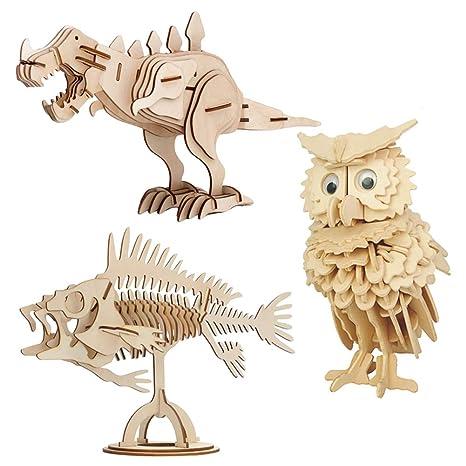 EQLEF Maquetas Madera, Modelos de artesanía de Madera Puzzle DIY Juego de Regalo de Juguete Búho de Madera Dinosaurio Peces Animal Woodcraft Puzzles ...