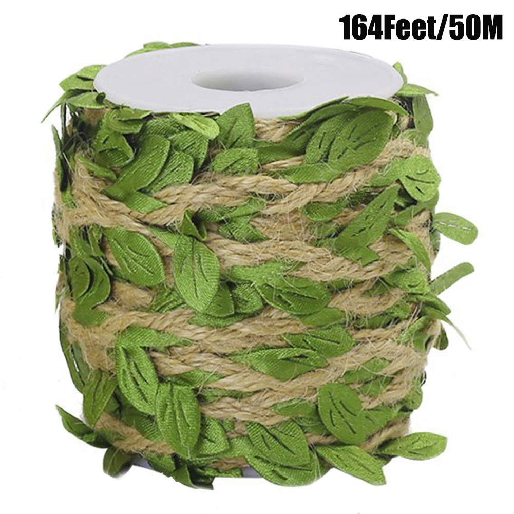 Ariskey Burlap Leaf Ribbo, 164Feet/50Meters Natural Jute Twine with Green Leaves for Wedding Packing and Garden Decoration Twine by Ariskey