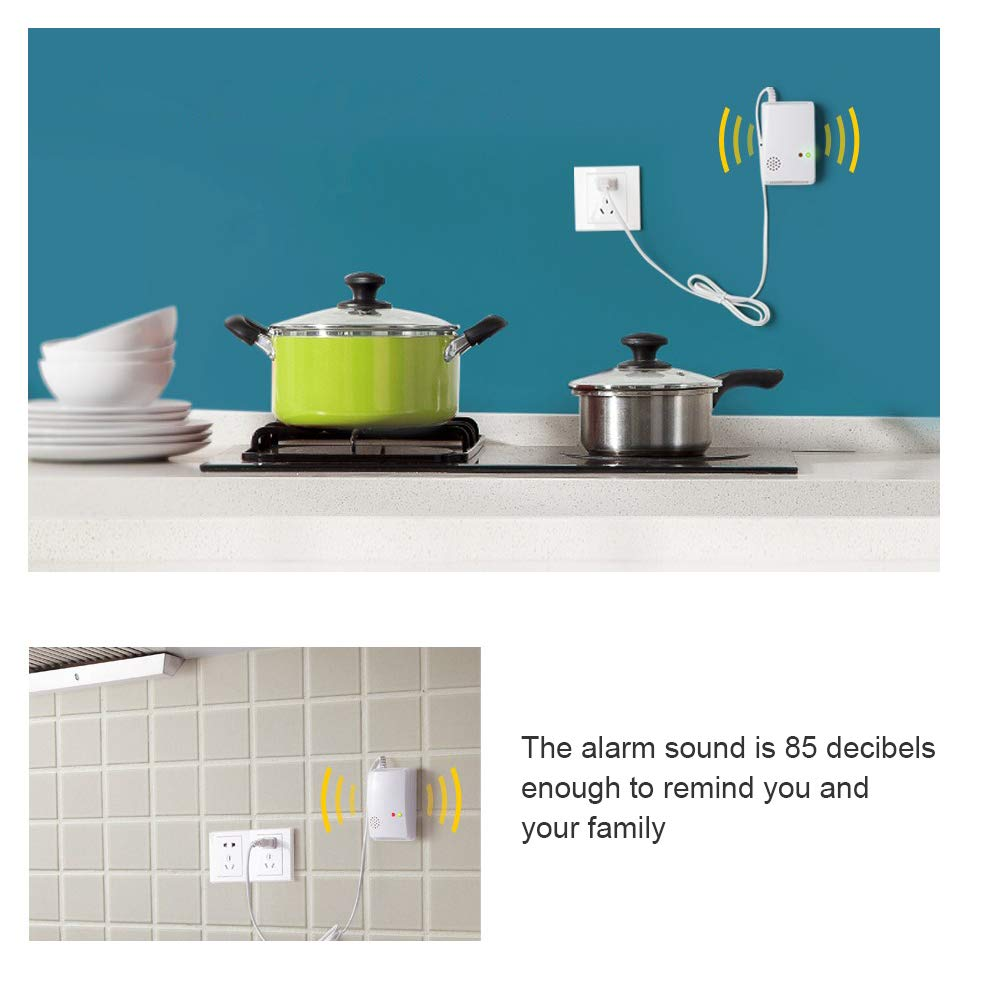 Kampre Alarma de Gas en la Cocina Detector de Gas en el hogar Sonda de detecci/ón de Fugas