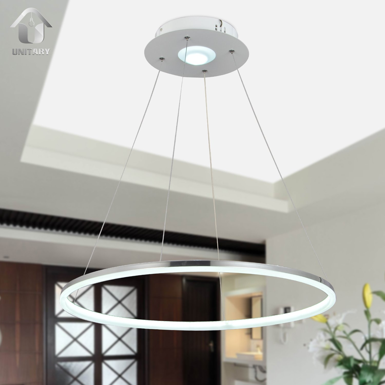 UNITARY BRAND Modern Nature White LED Acrylic Pendant Light Remote Control Included With 1 Ring Max 35W Chrome Finish 24 inches Diameter
