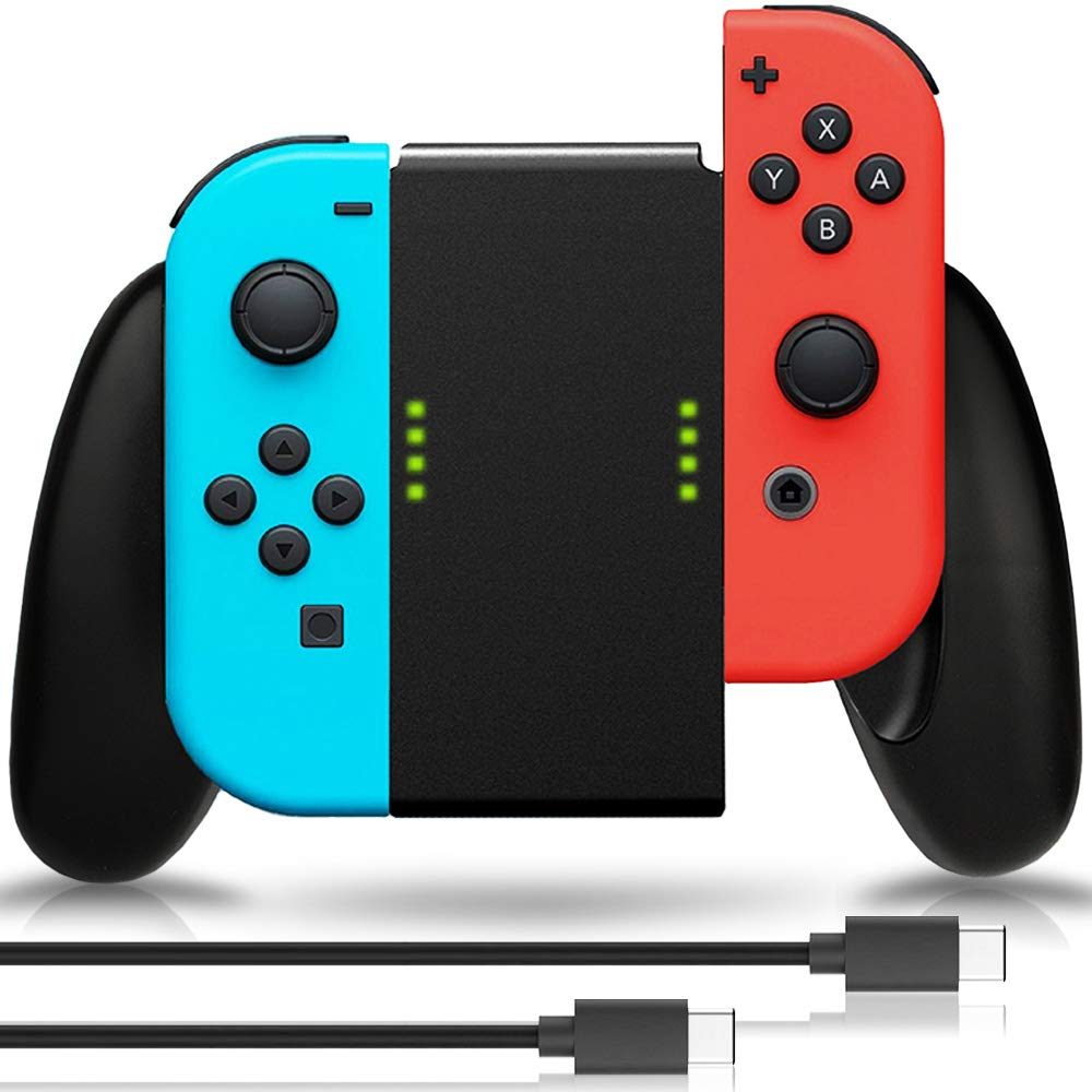 Joy Con Charging Grip, Fosmon 2-in-1 Joy Con Charge Grip Dock [4 Way Multifunction Converter] from Joy-Con Charging Grip to Joy-Con Handle Grip Controller w/Type-C Cable 6ft - Black by Fosmon