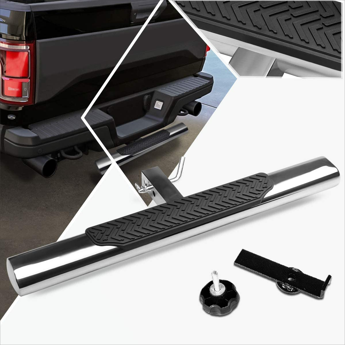 35x4 Inches Oval 2 Inches Receiver Stainless Steel Trailer Towing Tailgate Hitch Step Bar
