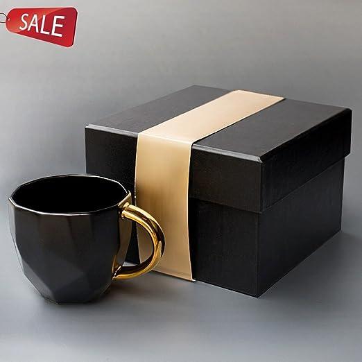 Vasos para té y café Taza taza de cerámica mate negro oro corte ...