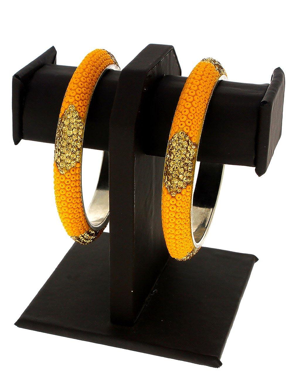 Anuradha Art Orange Colour Stylish Designer Kada Styled Ethnic Bangles Set for Women//Girls